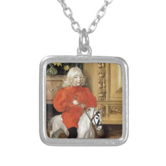 """Lucia Day!"" Boy on a Rocking Horse Silver Plated Necklace"