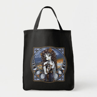 """Lucia"" Gothic Flower Moon Fairy Art Canvas Bag"