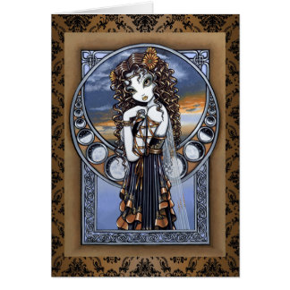 """Lucia"" Gothic Flower Moon Fairy Art Greeting Card"