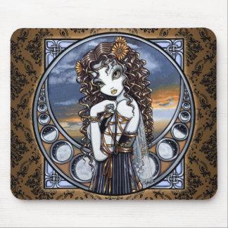 """Lucia"" Gothic Flower Moon Fairy Art Mousepad"