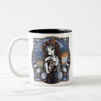 lucia, moon, fairy, mug, coffee, phases, sunset, flower, faery, faerie, fae, fairies, fantasy, art, myka, jelina, big, eyed, skies, Mug with custom graphic design