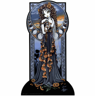 """Lucia"" Gothic Flower Moon Fairy Art Standing Photo Sculpture"