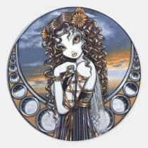 lucia, moon, fairy, stickers, faerie, phases, sunset, flower, faery, fae, fairies, fantasy, art, myka, jelina, big, eyed, skies, Sticker with custom graphic design