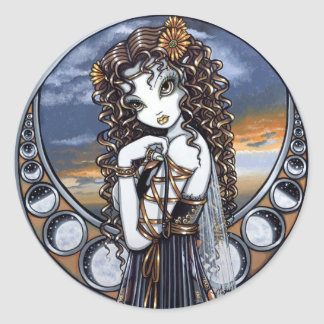 """Lucia"" Gothic Flower Moon Fairy Art Stickers"