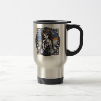 """Lucia"" Gothic Flower Moon Fairy Art Travel Mug"