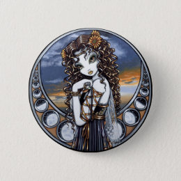 """Lucia"" Gothic Flower Moon Fairy Pinback Button"