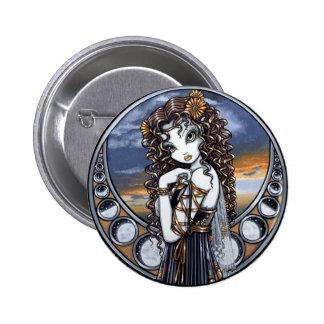 """Lucia"" Gothic Flower Moon Fairy Pinback Button"