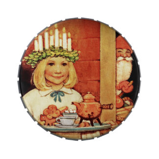 Lucia Karin and the Nisse Jelly Belly Candy Tin