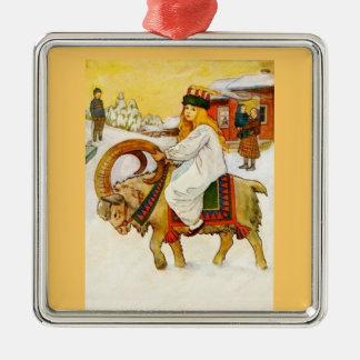Lucía que monta una cabra del navidad adorno navideño cuadrado de metal