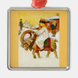 Lucía que monta una cabra del navidad adorno cuadrado plateado