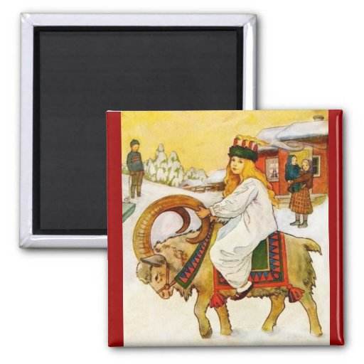 Lucía que monta una cabra del navidad imán para frigorifico