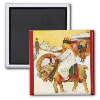 Lucía que monta una cabra del navidad imán cuadrado
