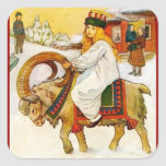 Lucía que monta una cabra del navidad pegatina cuadrada