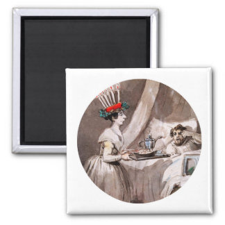 Lucia Serving hot cocoa and Cookies 2 Inch Square Magnet