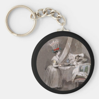 Lucia Serving hot cocoa and Cookies Basic Round Button Keychain