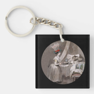 Lucia Serving hot cocoa and Cookies Single-Sided Square Acrylic Keychain