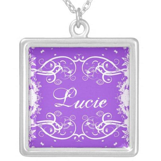 """""""Lucie"""" on purple flourish swirls necklace"""