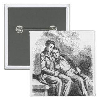 Lucien de Rubempre and David Sechard 2 Inch Square Button