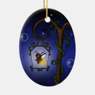 luciérnaga linda adorno navideño ovalado de cerámica