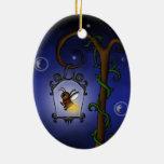 luciérnaga linda adorno ovalado de cerámica