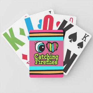 Luciérnagas de cogida del ojo del amor brillante d baraja cartas de poker