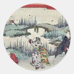 Luciérnagas de cogida por Katsukawa, Shunsen Pegatinas Redondas
