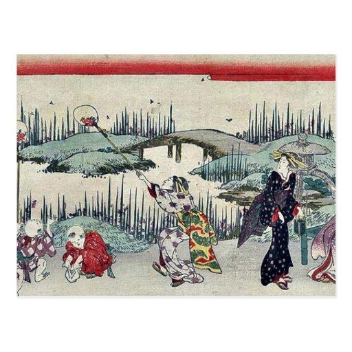 Luciérnagas de cogida por Katsukawa, Shunsen Ukiyo Postal