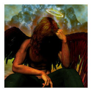 Lucifer After The Fall Gothic Fantasy Art Poster
