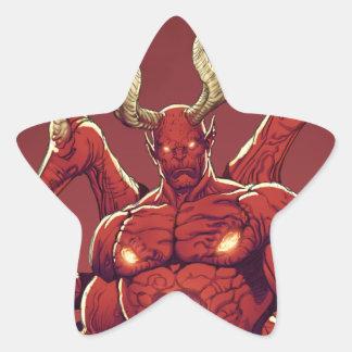Lucifer el diablo, el príncipe de la oscuridad, pegatina en forma de estrella