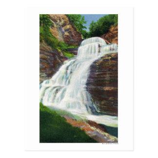 Lucifer Falls View in Robert H. Treman State Postcard