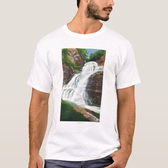 Lucifer Falls View in Robert H. Treman State T-Shirt