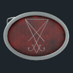 """Lucifer Sigil Alchemy Goth Art Belt Buckle<br><div class=""""desc"""">A modern update in silver tone and red damask for an ancient symbol used in Alchemical rites to represent Lucifer in His aspect as the Morning Star and teacher of secular wisdom. The perfect gift for the Gothic gentleman on your gift giving list. All elements are printed on our high...</div>"""