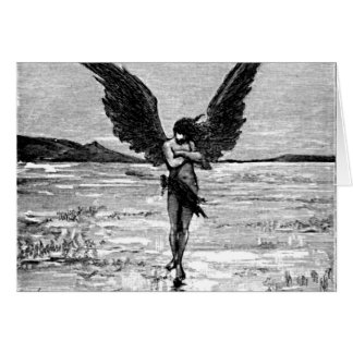 Lucifero Satan Devil Angel Charcoal Illustration Stationery Note Card