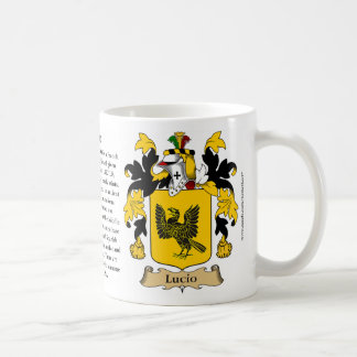 Lucio, the Origin, the Meaning and the Crest Coffee Mug