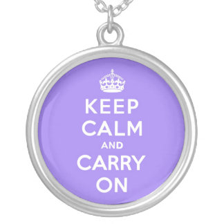 Lucious Lavender Keep Calm and Carry On Round Pendant Necklace