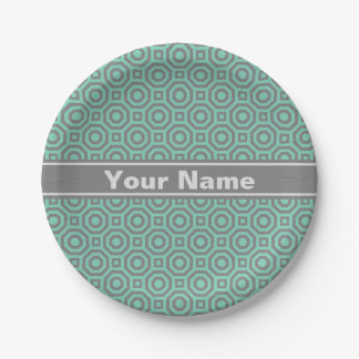 Lucite Green and Gray Nested Octagon Paper Plate 7 Inch Paper Plate