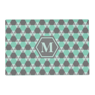 Lucite Green and Gray Triangle-Hex Placemat
