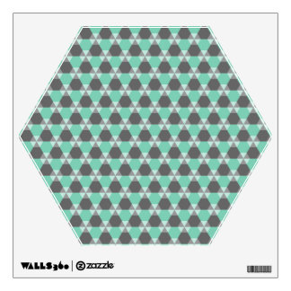 Lucite Green and Gray Triangle-Hex Wall Decal
