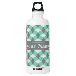 Lucite Green and Gray Wavy Pattern Bottle