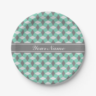 Lucite Green and Gray Wavy Pattern Paper Plate 7 Inch Paper Plate