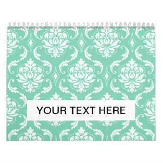 Lucite Green and White Classic Damask Calendar