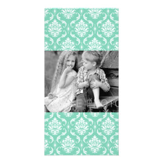 Lucite Green and White Classic Damask Card