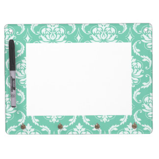 Lucite Green and White Classic Damask Dry-Erase Whiteboards
