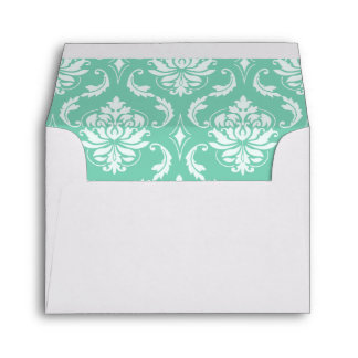 Lucite Green and White Classic Damask Envelope