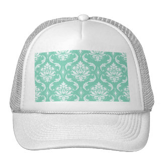 Lucite Green and White Classic Damask Trucker Hat