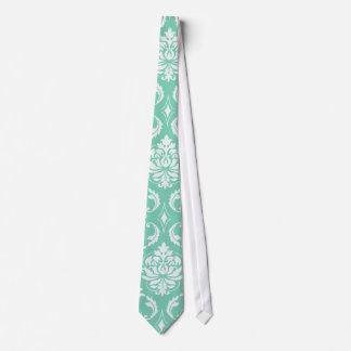 Lucite Green and White Classic Damask Neck Tie