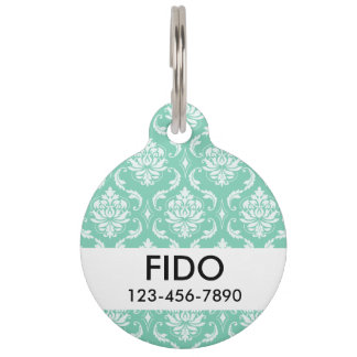 Lucite Green and White Classic Damask Pet ID Tag