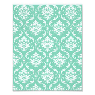 Lucite Green and White Classic Damask Photo Print