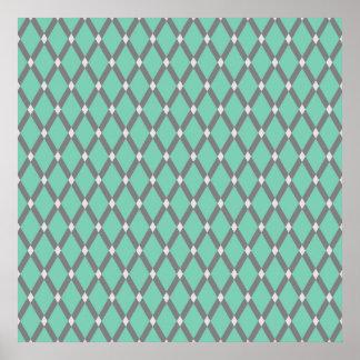 Lucite Green Diamonds- Gray Frames Poster