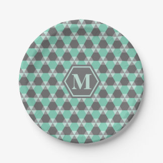 Lucite Green/Gray Triangle-Hex Paper Plate 7 Inch Paper Plate